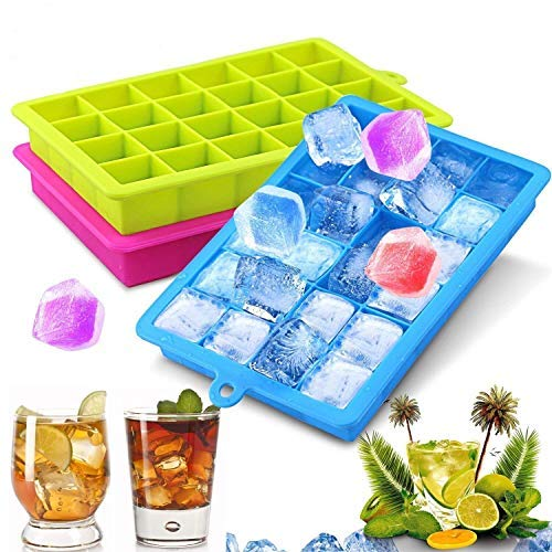 NEWROAD 3 Stück Eiswürfelform Silikon Eiswürfel Form Eiswürfelbehälter Eiswürfelbereiter mit Deckel Ice Tray Ice Cube 24 Fächer, Kühl Aufbewahren BPA frei (Party Ice Tray)