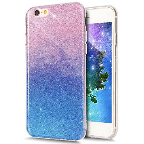 Cover iPhone 6 Plus, Custodia iPhone 6S Plus, ikasus® Colore gradiente Cristallo di lusso di Bling di scintillio lucido diamante scintilla iPhone 6 Plus/iPhone 6S Plus Case Custodia Cover Lucido scint Blu rosa