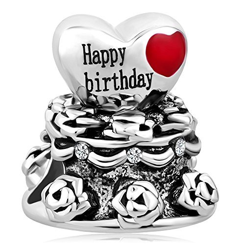 Korliya Happy Birthday Kuchen Charm Herz Bead für Armband (Happy Birthday Charme Pandora)