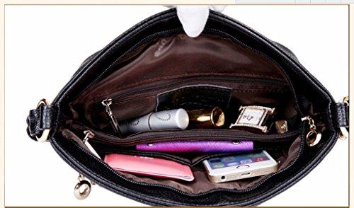 Donne Genuine Leather Colore Solido Tracolla Messenger Multi-pocket Zipper Handbags Black