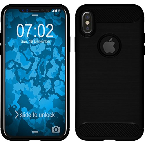 PhoneNatic Case für Apple iPhone X Hülle Silikon rot Ultimate Cover iPhone X Tasche Case Schwarz
