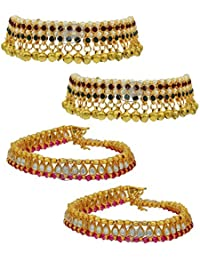High Trendz Combo Of Two Bollywood Style Ethnic Gold Plated Anklets With Ghungroos, Cz Stones And Kundan Studded... - B06XJ7PT3H