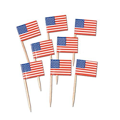 Gifts 4 All Occasions Limited SHATCHI-1217 Shatchi 50 Stück USA USA Amerika Flagge Picks Cocktail Sticks Cupcake Topper für Patriotische Motto-Party 4. Juli Dekorationen mehrfarbig