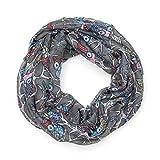MANUMAR Loop-Schal für Damen | Hals-Tuch in Grau mit Eule Motiv als perfektes Herbst Winter Accessoire | Schlauchschal | Damen-Schal | Rundschal | Geschenkidee für Frauen und Mädchen
