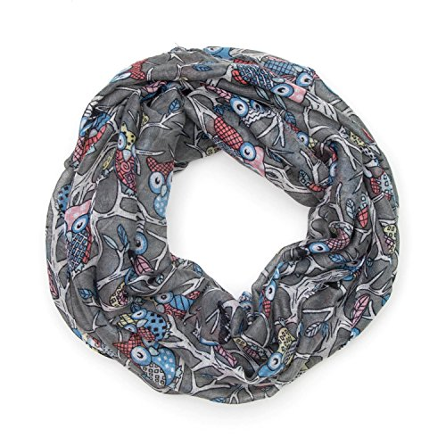 MANUMAR Loop-Schal für Damen | Hals-Tuch in Grau mit Eule Motiv als perfektes Frühling Sommer Accessoire | Schlauchschal | Damen-Schal | Rundschal | Geschenkidee für Frauen und Mädchen