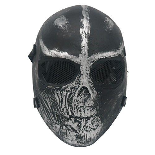 Army Two Cosplay Of Kostüm - Ecloud Airsoft / Paintball Vollschutz-Maske, Totenkopf-Schädel, Schwarz/Silber
