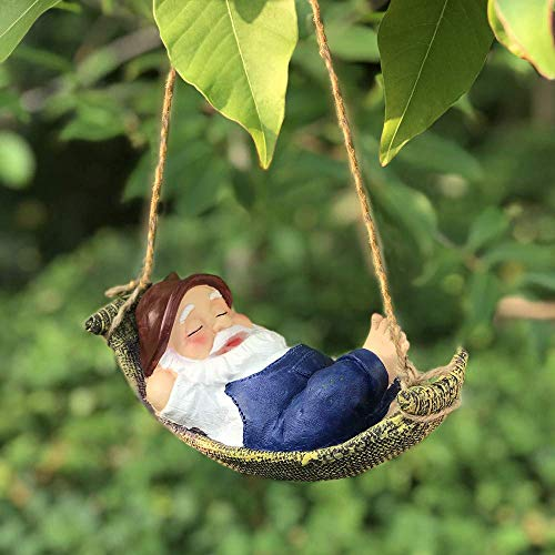 IFEVER Swinging Santa Claus/Cat Hanging Garden Statue Decoration Funny Outdoor Sculpture Ornaments Décor (Blue) -