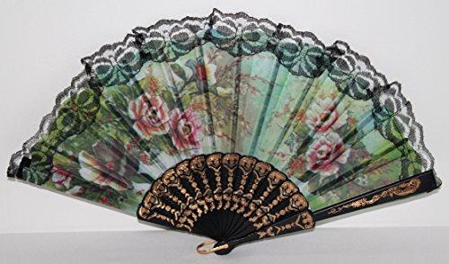 AAF Nommel®, 1 STK. Tanz- Stoff- Zier- Flamenko- Fächer Schwarze Spitze mit Blumenmotiv Nr. - Barock Tanz Kostüm