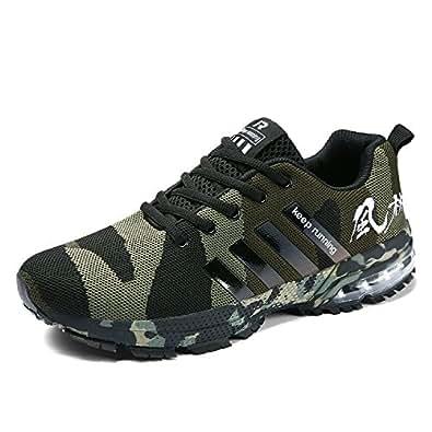Senbore , Chaussures de Running pour Homme Gris Gris 44.5 EU - Vert - Vert Camouflage, 36 EU