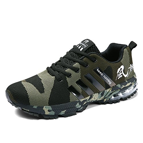 16358a9970d0fc Senbore Men Casual Sports Shoes Air Trainers Fitness Flats Running Athletic  Competition Sneakers Camouflage Green