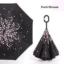 Paraguas Autoportante Paraguas Protección UV a Prueba de Viento Invertido con Mango de Forma C Reversible