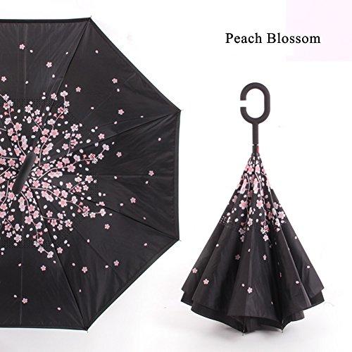 Paraguas Autoportante Paraguas Protección UV a Prueba de Viento Invertido con Mango de Forma C Reversible Innovador ( Color : Peach Blossom )