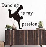 Ponana Dancing Is My Passion Wall Sticker Dancer Silhouette Bedroom Living Room Removable Vinyl Art Mural Silhouette Dec