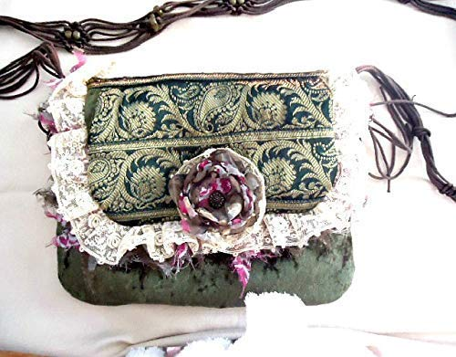 Handmade OOAK shabby velvet crossbody bag with a macrame and bead strap, Upcycled bags, Vintage fabric bag, Detachable singe flower brooch - handmade-bags