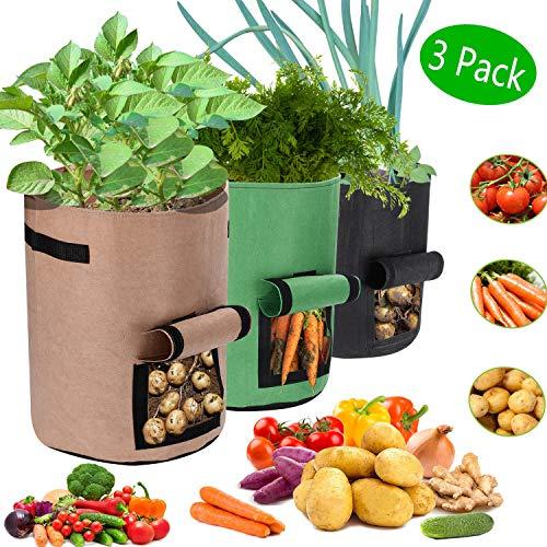 Grow Borse, Sacchetti per Coltivazione di Patate impermeabile, 10 galloni Premium Tessuto non tessuto traspirante con finestra e maniglia in Vasi di Feltro per pomodoro (3 pezzi, verde + nero + cachi)