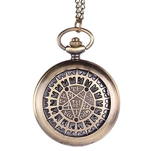 UniqueBella Unisex Antique Bronze Flip-Open Quartz Pocket Watch Pendant with Chain Necklace Starburst Design