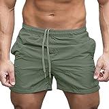 Shorts Herren Sommer LHWY Männer Gym Kleidung Kurze Hosen Beiläufige Sport Jogging Elastische Waist Shorts Vintage Mode Fitness Laufhose (XL, Grün)