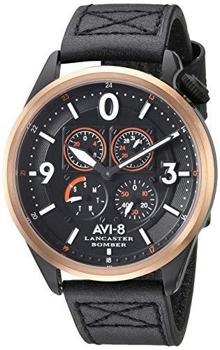 AVI-8 Lancaster Bomber - Reloj Casual de Cuarzo para Hombre, Acero Inoxidable y Cuero, Color Negro (Modelo: AV-4050-05)