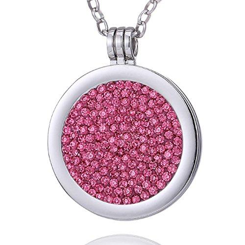 Morella Damen Halskette 70 cm Edelstahl mit Amulett und Coin 33 mm Zirkoniasteine rosa im Schmuckbeutel