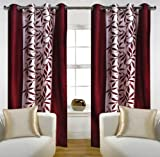 "Home Candy Eyelet Fancy Polyester 2 Piece Door Curtain Set - 84""x48"", Maroon (SOE-CUR-172_172)"