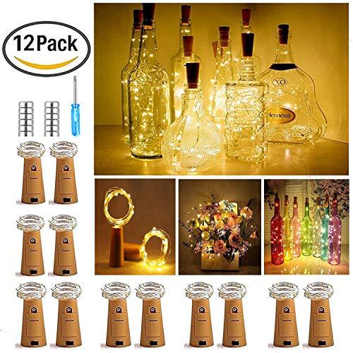 (【12 Stück】Nasharia 20 LEDs 2M Flaschen Licht Warmweiß, Lichterkette für Flasche LED Lichterketten Stimmungslichter Weinflasche Kupferdraht, batteriebetriebene für Flasche DIY, Dekor,Weihnachten)