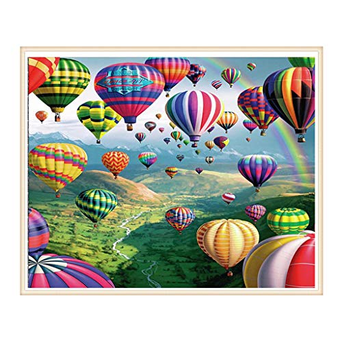 Fysless DIY Hot Air Balloon - 5D Diamond Painting by Number Kits,Full Drill Rhinestone Embroidery Paintings Arts Craft Canvas for Home Wall Decor - 30x40cm