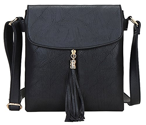 Big Handbag Shop - Borsa a tracolla da donna, di medie dimensioni, alla moda Design 4 - Black