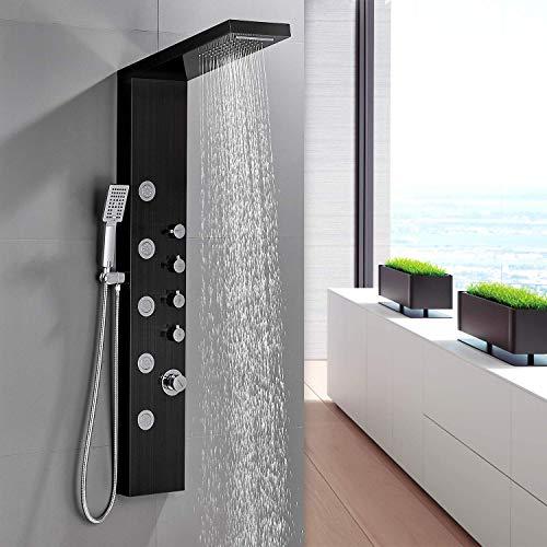 BONADE Duschpaneel Duschsystem schwarz aus 304 Edelstahl Duschset mit 3 Funktionen Handbrause, 5 Massagendüsen Wasserfall Regendusche Set Aufputz Dusche für Bad Badewanne