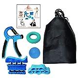 Xrten Kit de 5 Piezas Fortalecedores de Mano, Fortalecedor de Agarre de Manos, Ejercitador de Dedos, Banda de Dedos, Bola de Agarre