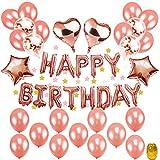 """Geburtstagsdeko Mädchen Rosegold, TopDeko Hen Party Deko mit 16"""" Happy Birthday Banner, 25Pcs 12"""" Ballons und 4Pcs 18 ' Folie Sterne Herz Ballons mit Goldenen String für Partyzubehör (Birthday)"""