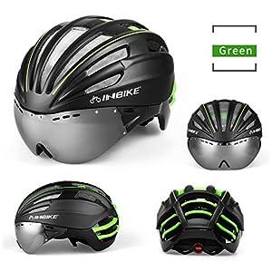 INBIKE ciclismo casco con gafas lnes Integrally-molded casco bicicleta cascos de bicicleta 57-62cm Circunferencia de la cabeza 4colores, verde