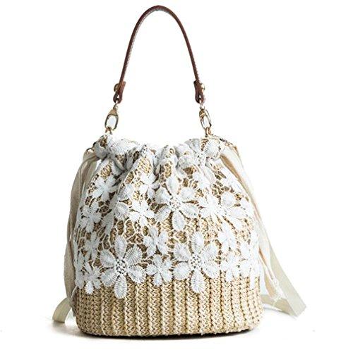 ELEGENCE-Z Einfache Stroh Tasche, Fairy Woven Bag Rattan Tasche Sommer Schulter Strand Stroh Tasche, Geeignet Für Strand