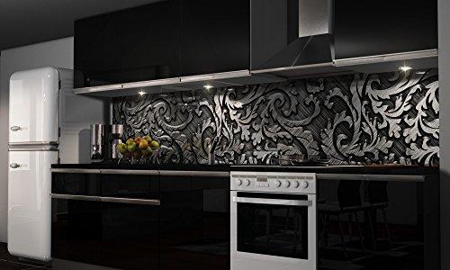 Küchenrückwand Folie selbstklebend Spritzschutz Fliesenspiegel Deko Küchenzeile Silver | mehrere Größen