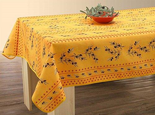 Tovaglia lavabile, colori: giallo/rosso, con olive, circa240x 150cm, anti-macchia, tovaglia da tavola provenzale