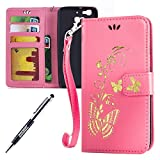 Kompatibel mit Huawei G8 Mini/Enjoy 5S/GR3 Hülle Hülle Luxus Gold Schmetterling Muster Lanyard/Strap Pu Leder Hülle Handytasche Brieftasche Etui Schutzhülle Flip Wallet Case Cover Pink