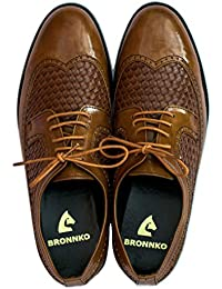 Bronnko Two Tone Textured Mens Brogue Formal / Casual Shoes