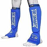 Shin collo del piede Pad MMA gamba piede guardie Muay Thai Kick Boxing Guard Protector, Blue/ White