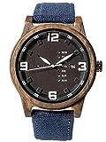 Alienwork Herren-Armbanduhr Quarz schwarz mit Canvas-Armband blau Kalender braun Holzuhr Natur-Holz