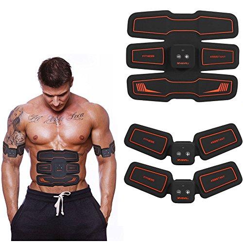 Bauchmuskeltrainer Fitness Geräte Elektrostimulation Massagegerät Muskelaufbau und Fettverbrennungn Unterstützen Automatische Übungen Maschine (Schwarz)