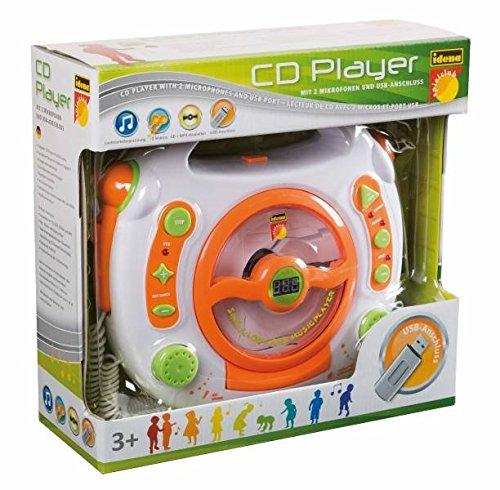 CD-Player - mit USB Anschluß / MP3 / Stick / 2 Mikrofonen / LED-Display - weiß - tragbar Mikrofon - Kopfhöreranschluß - Programmiertasten - Karaoke - Netzadapteranschluß für Kinder Mädchen und Jungen