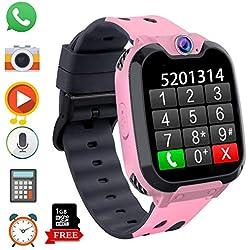 Montre Intelligente pour Enfants, Jeux Smartwatch Phone Appel avec MP3 Caméra Lecteur de Musique Réveil Regarder pour Garçon Fille Adolescents 3-12 Ans (X9 Jeu MP3-Pink)