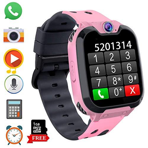 Kinder Smartwatch, Kind Uhr Telefon mit Zwei Wege Gespräch MP3 Kamera Rechner Rekorder und SOS Spiel Uhr für 3-12 Jahre alt Jungen Mädchen Geburtstags Geschenke (X9 Spiel MP3-Pink)