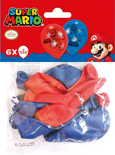 Amscan 9901546 6 Latexballons Super Mario, Blau/Rot (Coole Duos Halloween-kostüm)