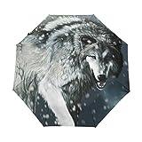 Bennigiry Sombrilla de color blanco y negro con diseño de lobos UV y sombrilla ligera elegante...