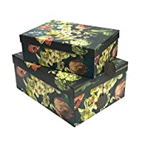 marymarygardens Set of 2 Dutch Inspired Floral Printed Gift or Storage Boxes - Dark Geen