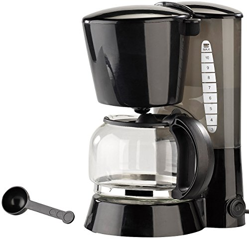 PEARL Kaffeefiltermaschine: Kaffeemaschine KF-115 mit Mehrweg-Filter, 680 W, für 10 Tassen (Kaffeemaschine mit Glaskanne)