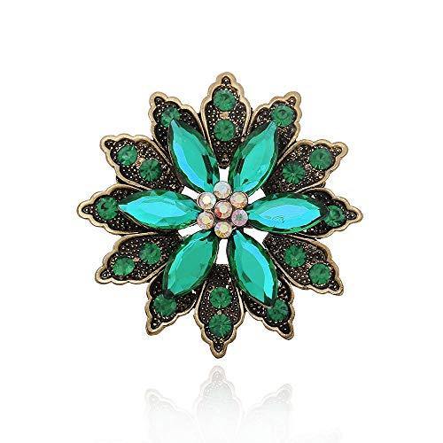 Ju-sheng Brosche der Frauen kreativer Retro übertriebener Edelstein-Blumen-Zusatz-Brosche Schmuck (Farbe : Grün)