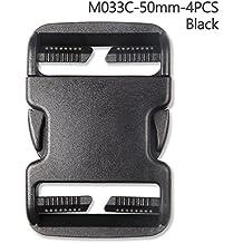 4pcs plástico hebilla Kit de reparación de liberación rápida hebillas para mochila Bolsa, negro, 50 mm