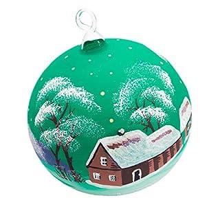 Handgemachter Weihnachtsschmuck. Die Weihnachtskugeln aus Glas sind handbemalt, es gibt blaue, grüne und bordorote Kugeln mit einem Durchmesser von 11 cm, hergestellt in Deutschland.