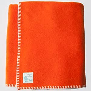 Tuppence and Crumble soft fleece Baby Blanket 100x145cm Orange with Cream Stitching